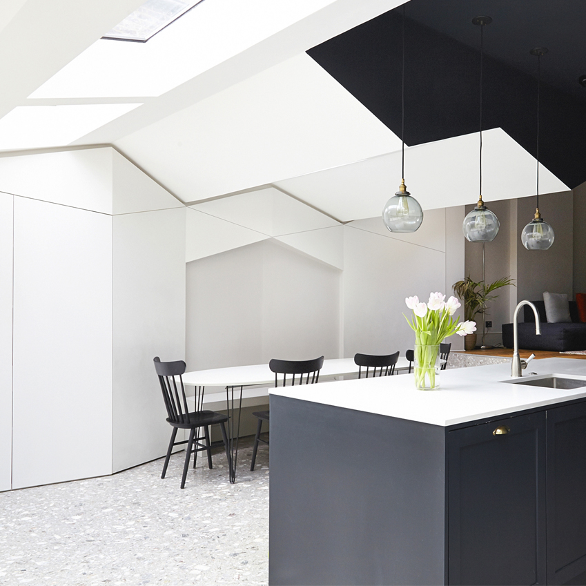 An economical alternative to poured terrazzo, slabs are used in this north London kitchen extension. The owners and architect practice Bureau de Change sourced the slabs from London showroom In Opera, and they are laid with such precision that the joins are barely visible (in-opera.co.uk; b-de-c.com) Photography: Anna Stathaki