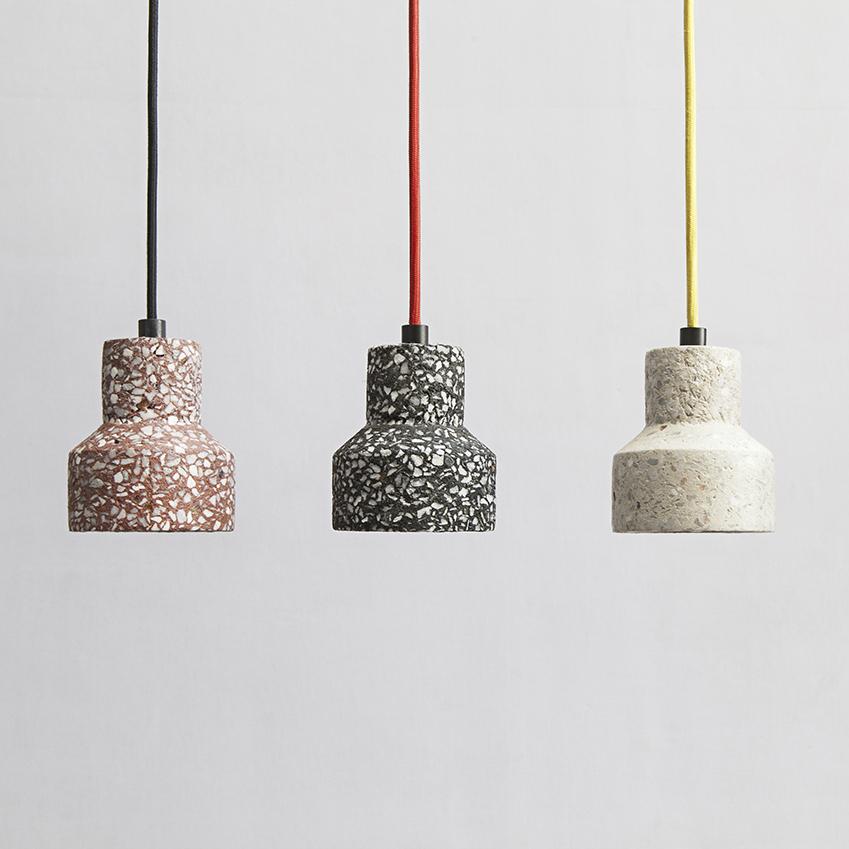 'Tu' terrazzo style finish pendant lights, £82 each, Bentu (bentudesign.com).