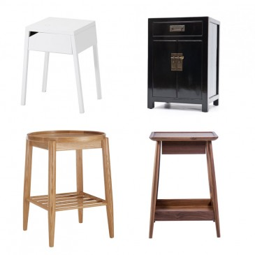 The 'Selje' white bedside table with wireless phone charging, £50, IKEA.; Black lacquered elm, tall bedside cabinet, from the Mandarin Collection. £495, Orchid Furniture. (Gloriously hand-painted decorated version also available, £595).; The 'Harlosh' bedside table in walnut by Russell Pinch, £865, The Conran Shop.; The 'Shalstone' oak bedside table by Ercol, exclusive to John Lewis, £245.