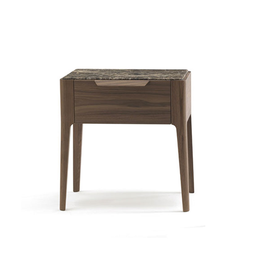 Solid Canaletta walnut 'Ziggy' bedside table designed by Carlo Ballabio for Porada. Comes with wood or marble top. From £1,420, Go Modern