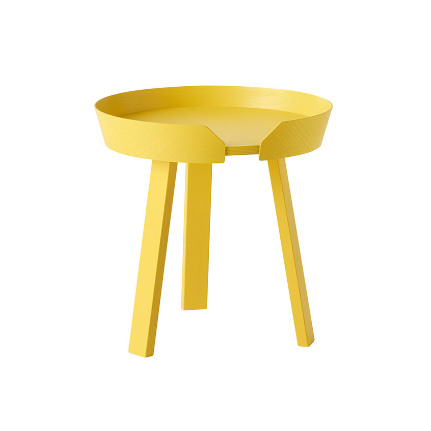 'Around' small coffee table in yellow, Muuto