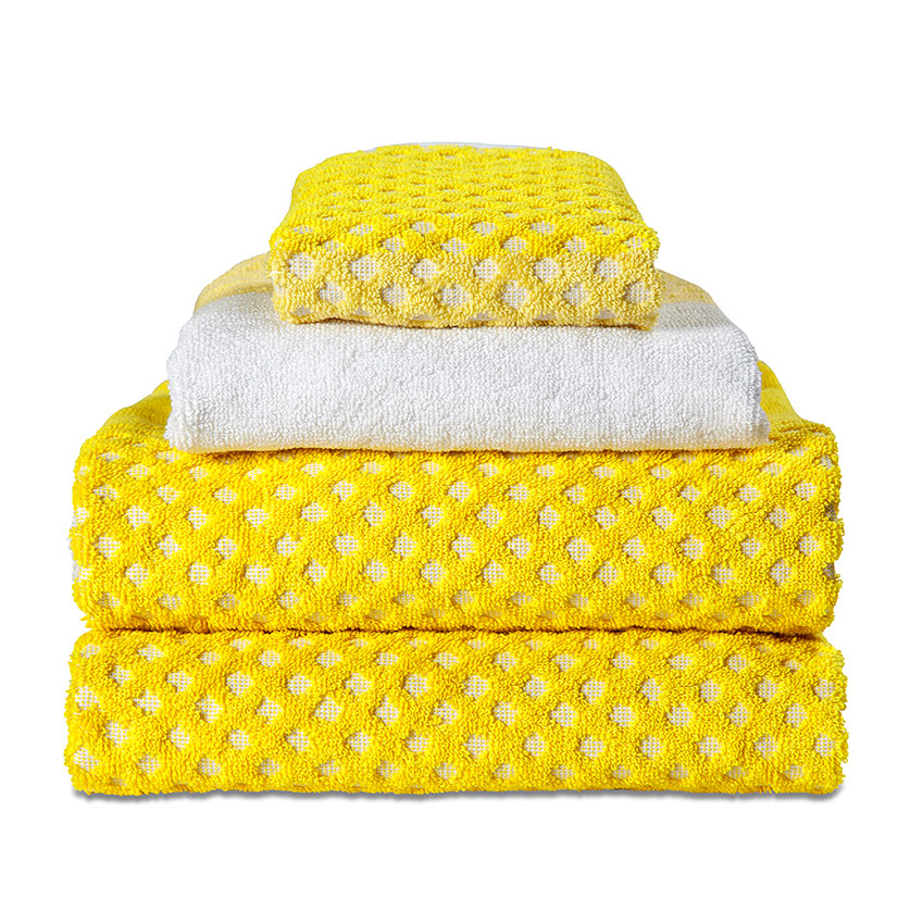 'Autumn Yellow' towels and facecloth, from £13, HAY