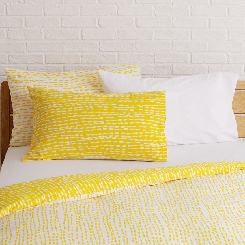 'Trene' yellow patterned kingsize duvet cover set by Martha Coates for Habitat, £50, Habitat