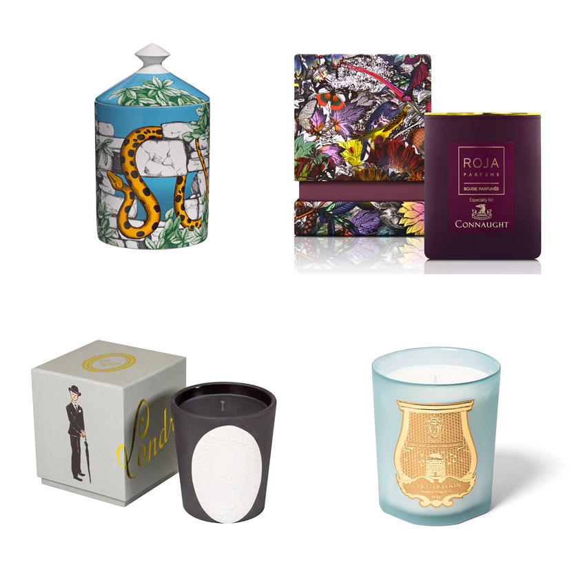 Barnaba Fornasetti's 'Il Serpente del Giardino Segreto' candle, £140, Amara; The Connaught candle, £95, Roja Parfums; Cire Trudon's 'Joséphine' scented candle £70 www.ciretrudon.com; The 'Lucky Charms' candle collection, £45 each (laduree.com).