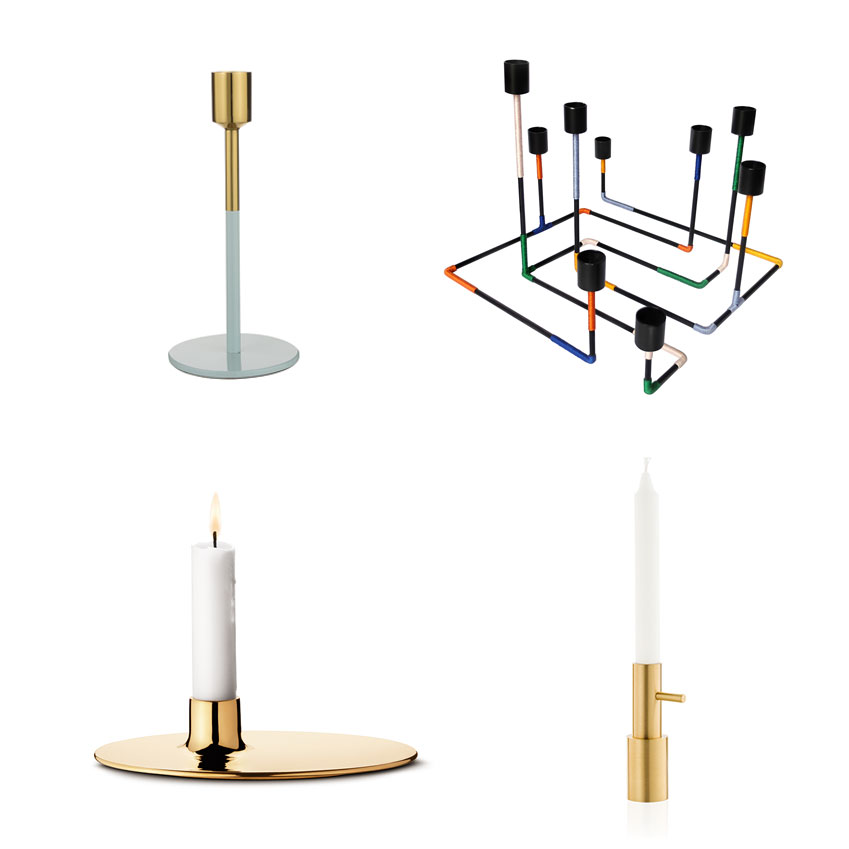 'Cosmopolitan' small green and metal candleholder, £12, Debenhams; 'Bougeoir Labyrinthe' candleholder, £230, Miriam Josi (miriam-josi.com); Candleholder by Jaime Hayón, from £70 each for Fritz Hansen.; 'Ilse' candleholder by Ilse Crawford for Georg Jensen, £85, Twenty Twenty One (twentytwentyone.co.uk)