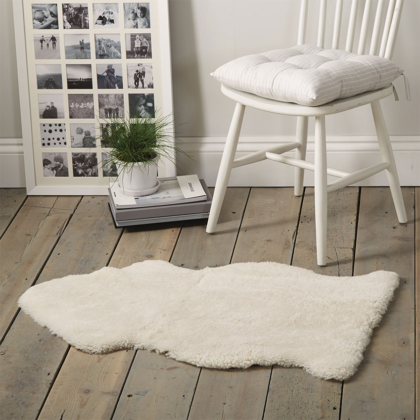'Single Sheepkin' rug in Pearl, £95, The White Company