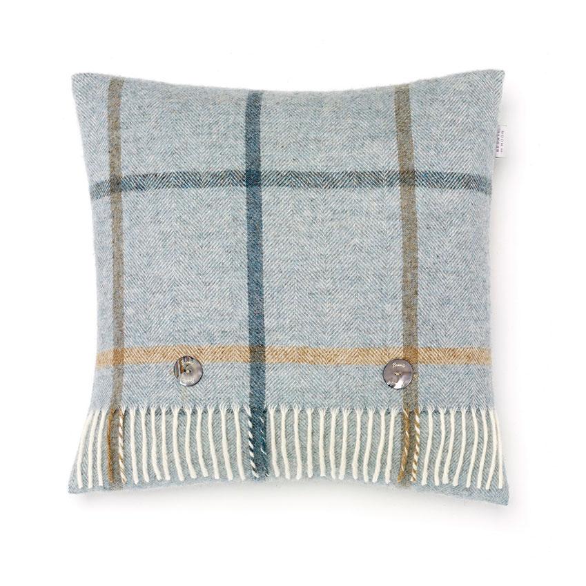 'Shetland Windowpane' cushion in Aqua, £49.95, Bronte by Moon