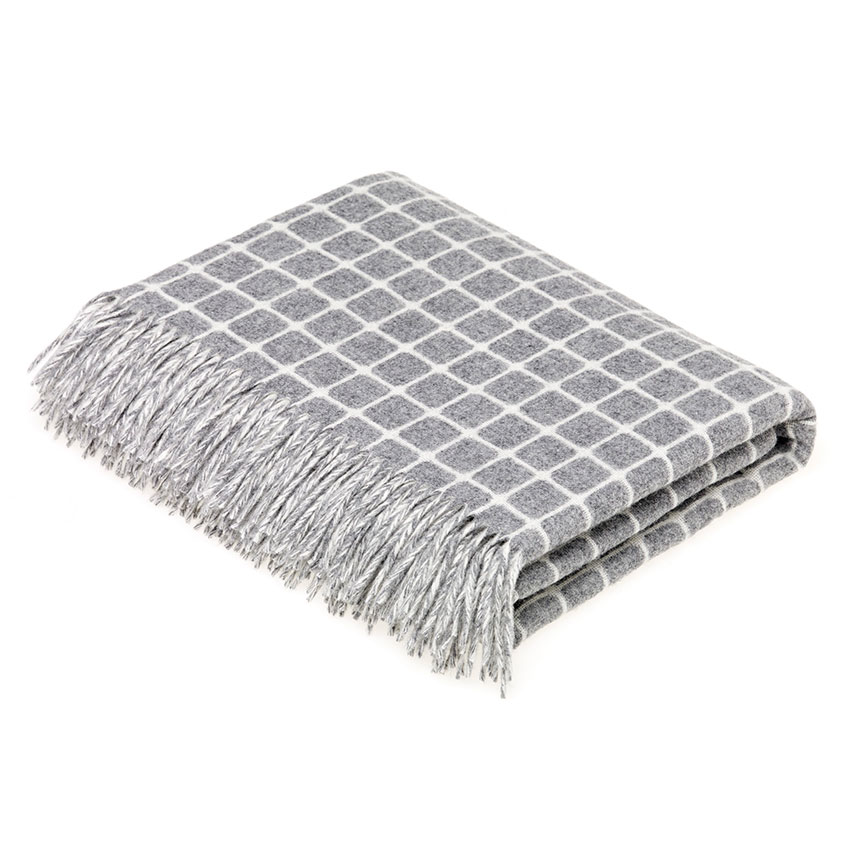 'Athens' checked lambswool throw in grey, £89.95, Bronte by Moon
