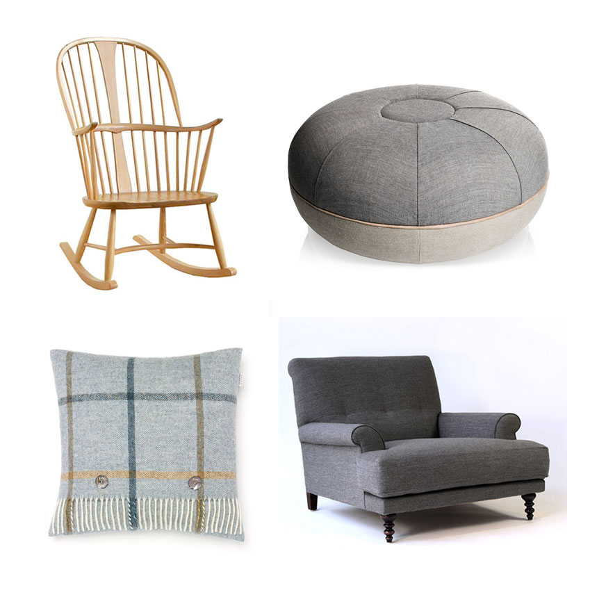 Original 'Chairmakers' rocking chair, £890, Ercol; 'Pouf' by Cecilie Manz in Remix Concrete made from canvas and natural leather, £393, Fritz Hansen; Oscar' armchair by Matthew Hilton in 'Molly' fabric from Kvadrat, £2781, SCP; 'Shetland Windowpane' cushion in Aqua, £49.95, Bronte by Moon