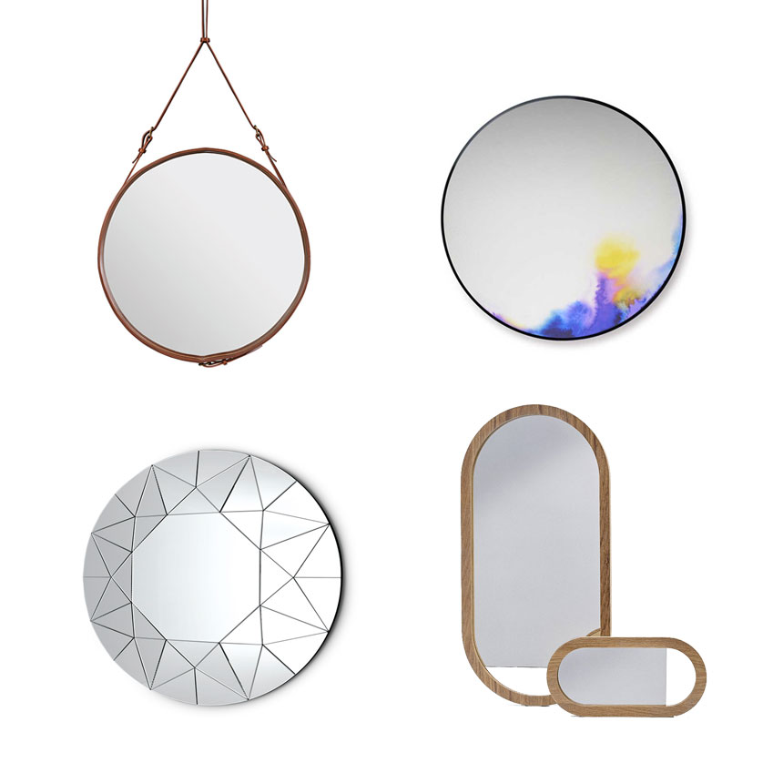 The 'Adnet' circular mirror with leather frame in Tan by Gubi, from £559, Twentytwentyone; 'Francis Round' wall mirror by Petite Friture, £450. Heal's; 'Living' oak framed mirror, £129, BoConcept; 'Dream' mirror by Ricardo Bello Dias for Galotti & Radice, from £3,342, Chaplins (chaplins.co.uk)