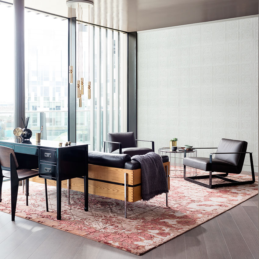 In the EDapartment in greenwich Peninsula, we specified rugs from the 'Memories' collection by artist Isabella Sodi for Golran. Truly art for the floor. First featured in the May 2016 edition of ELLE Decoration.