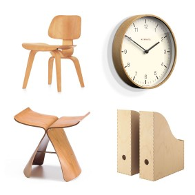 DCW chair by the Eames' for Vitra. £1,100, Clippings;'Mr Clarke' clock in light plywood, from £40, Newgate Clocks 'Knuff' magazine file in birch plywood, £7, Ikea; 'Butterfly' stool in maple plywood designed in 1954 by Sori Yanagi for Vitra, £479, Heal's