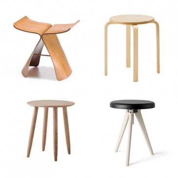 'Butterfly' stool in maple plywood (also available in dark Pantos Palisander) designed in 1954 by Sori Yanagi for Vitra, £479, Heal's.; 'Frosta' stool in birch, £8, Ikea; 'Flip Around' tray-table-stool in light ash by Norm Architects for Menu, £174, Nest.co.uk; 'Ardleigh' milking stool made from Elm, £95, The White Company