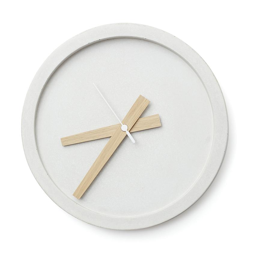 Concrete wall clock in white, £99, Oggetto