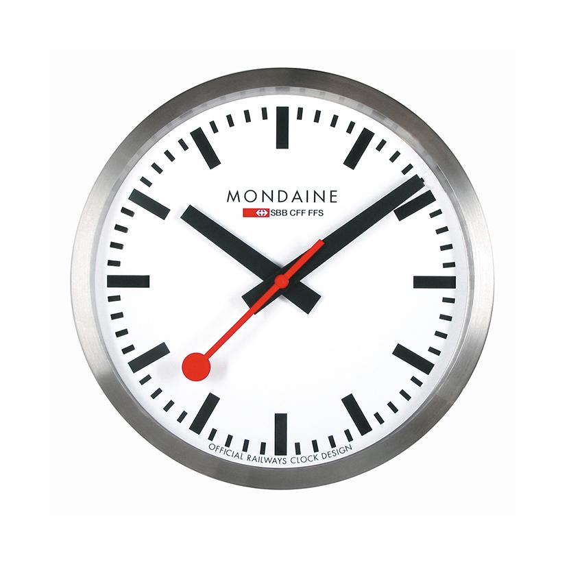 Wall clock with brushed aluminium case, £315, Mondaine