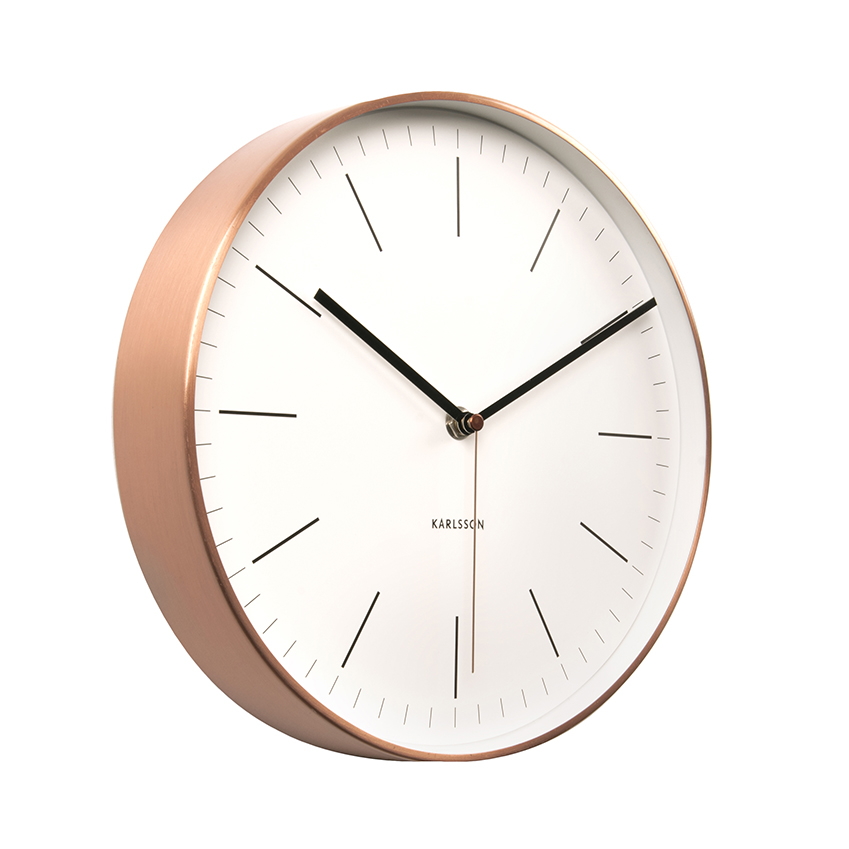 'Minimal' copper and white wall clock by Karlsson, £50, Paperchase