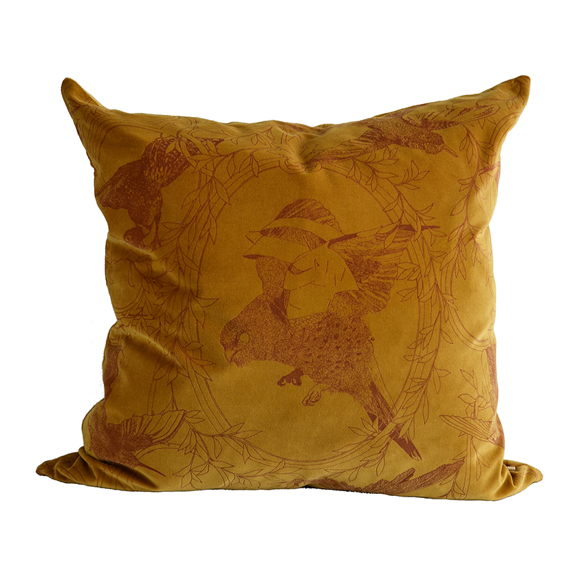 'Taxidermy Birds' velvet cushion in Gold by Daniel Heath, £95, Curious Egg