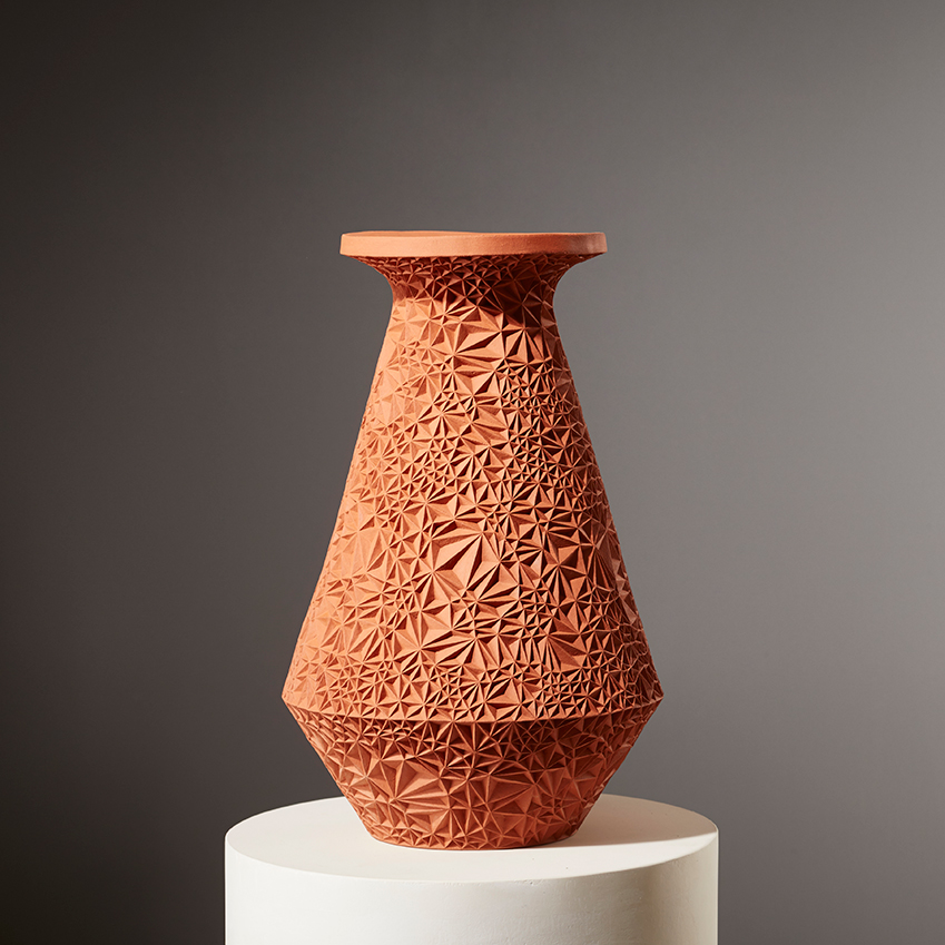 'Saints Jerome and John the Baptist' vessel in Terracotta by Leah Jensen, £3,900, The New Craftsmen