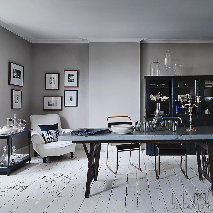 This simple grey scheme is offset by accents of petrol blue – a great way of updating vintage furniture<span>Photography: Michael Paul/Living Inside</span>
