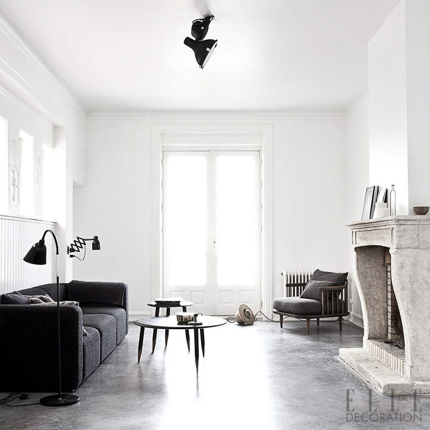 This striking period property in Copenhagen has been artfully updated with concrete floors and streamlined Scandinavian pieces lifted by fresh white paint.  The house is owned by a couple with an eye for design: one of them is a co-owner of Danish multimedia design company Norm<span>Photography: Jonas Bjerre-Poulsen</span>