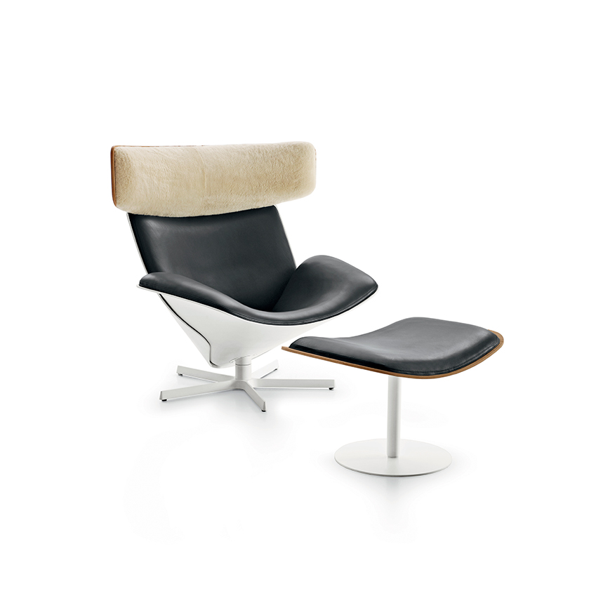 'Almora' armchair with footstool by Nipa Doshi and Jonathan Levien, B&B Italia (bebitalia.com)