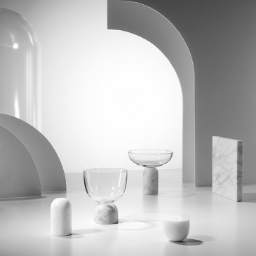 'On the Rock' crystal and marble glasses designed by Lee Broom. Photograph: Arthur Woodcock