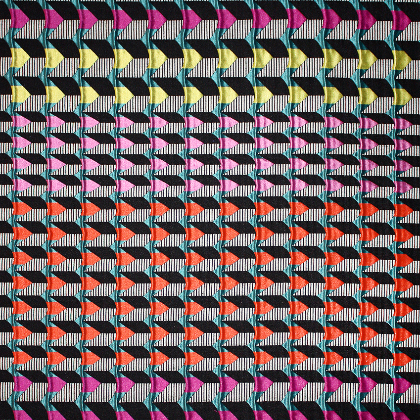 'DOGSTAR' FABRIC BY MARGO SELBY – Royal College of Art-trained, Whitstable-based designer Selby  is known for her colourful, boldly patterned jacquard fabrics, which have a striking three-dimensional quality and are created using a mix  of hand drawings and computer programmes. The cotton-mix 'Dogstar' upholstery fabric is sold  by the metre and is also available  as cushions and lampshades.  Fabric, £120 per m (margoselby.com).