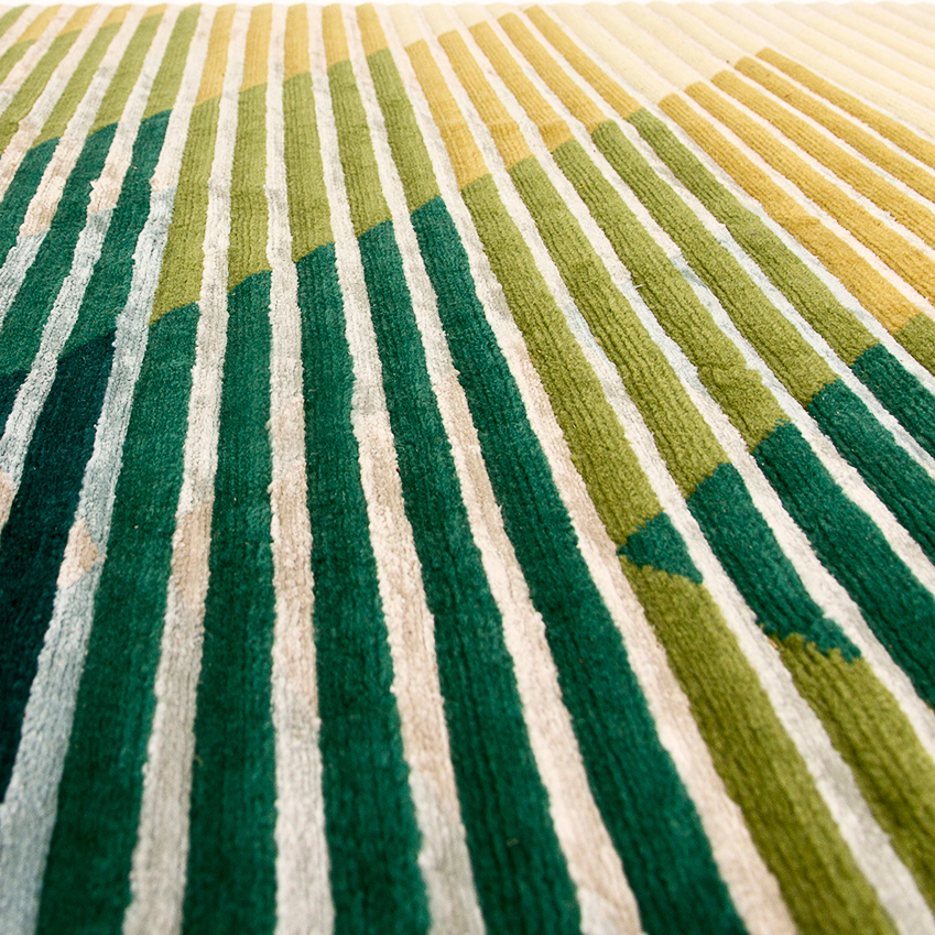 'LAKE' RUGS BY RAW EDGES FOR GOLRAN – Each of these rugs by the London-based Israeli duo is cleverly designed so that different patterns and colours are discernible depending on the angle from which they you view them (the secret is the variations in the height of the pile). They're intended to look more vivid in daylight and softer by night. £6,776 (golran.com).