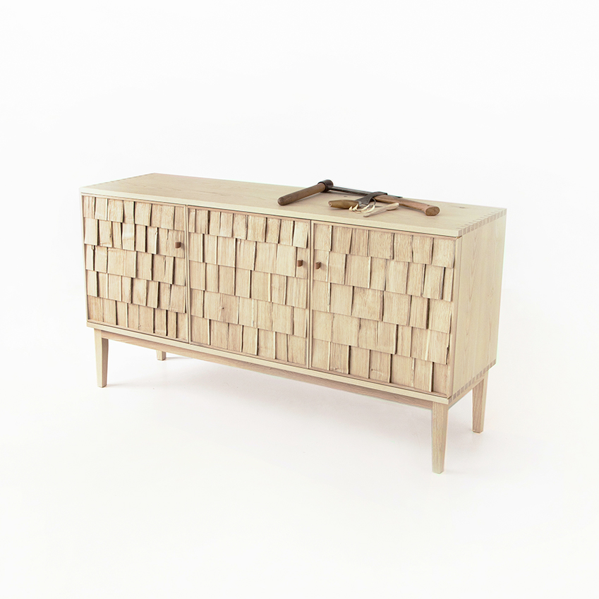 'SHAKE' STORAGE BY SEBASTIAN COX FOR BENCHMARK – Made from coppiced chestnut and managed crops of ash, these units  are constructed using traditional 'cleaving', where sections of wood are split to create 'shakes', or leaves of timber. Sideboard, £2,800 (benchmark furniture.com).