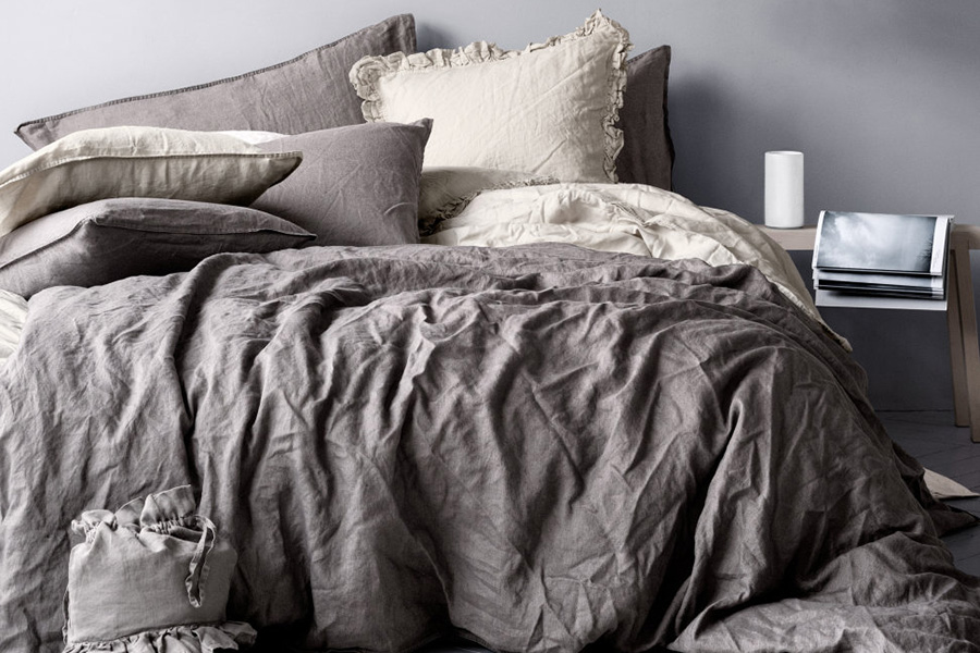 'Linen' double duvet washed linen set, £59.99, H&M Available in four neutral tones and two sizes.