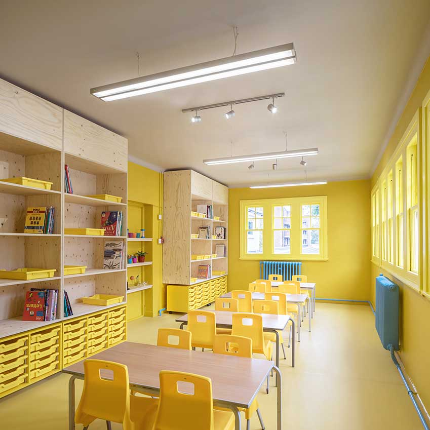 Classrooms feature plenty of storage at different heights