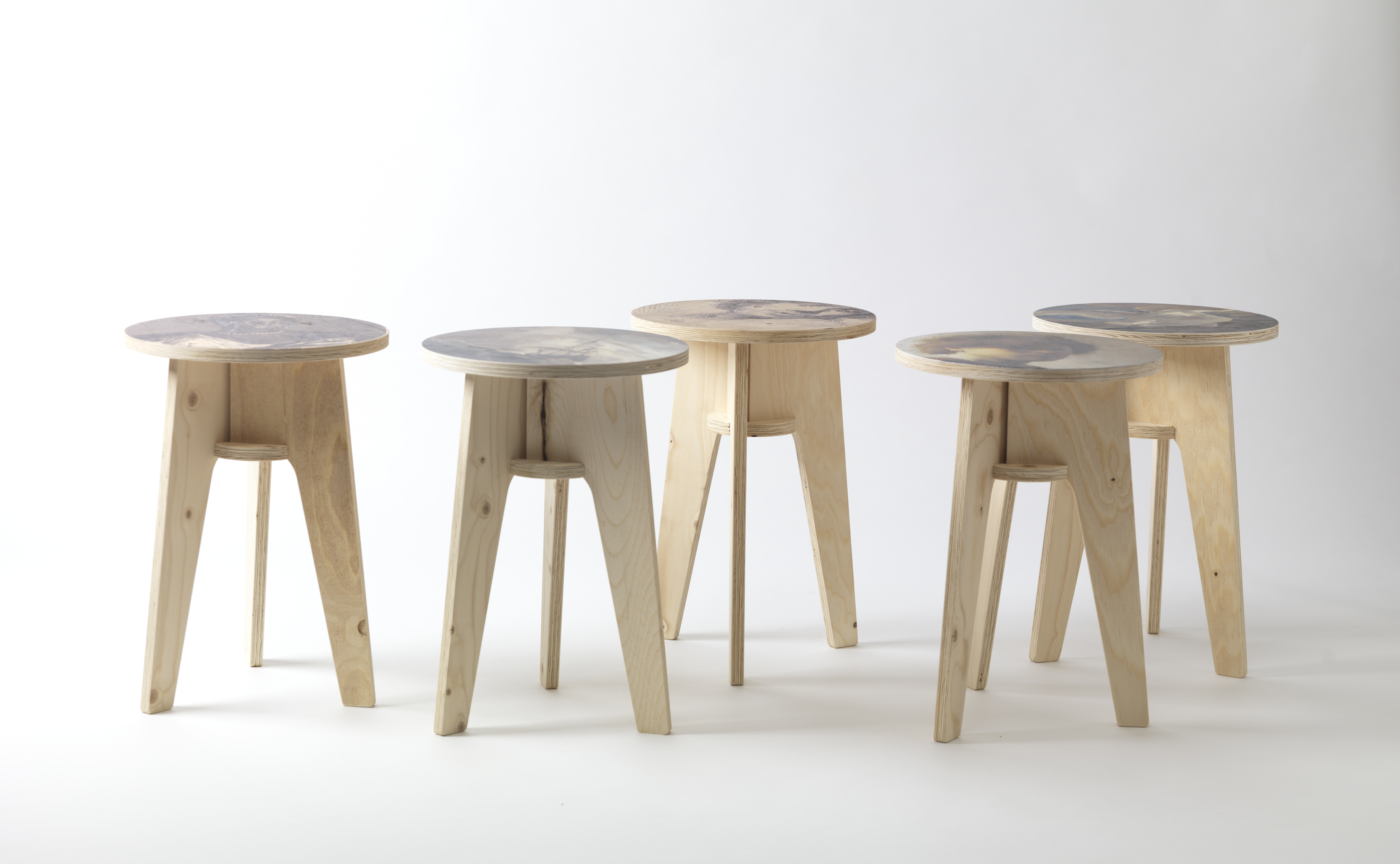 Plywood stools by NLXL Labs.