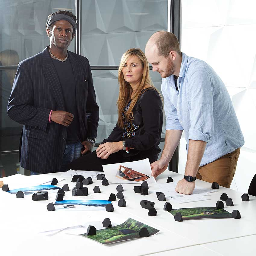 FIFTH PLACE: 'TETRASHED' BY INNOVATION IMPERATIVE – Named after its 'truncated tetrahedron' form, this ingenious multi-purpose pod can be used singly or in groups, indoors or out. Designer David Ajasa-Adekunle, pictured far left with his team, says he set out to create something 'space-efficient, architecturally striking and inherently strong' (tetra-shed.co.uk)