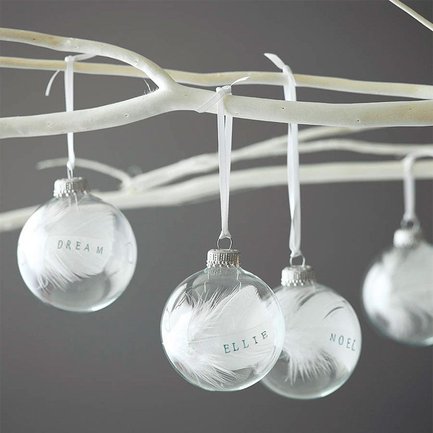 Button Box Cards – Made by designer Elise in her Yorkshire studio, these delicate baubles contain a single feather and can be decorated with the name of your choice (up to seven characters). £12, Not On The High Street (notonthehighstreet.com)