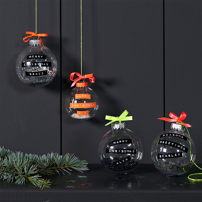 Letteroom – Filled with sequins and decorated with your message on embossed tape, these baubles will give your tree a modern, neon edge. They are designed by Jackie Jackson and Sherrie Mead, who share a passion for one-of-a-kind gifts. £9.95 each (theletteroom.com)