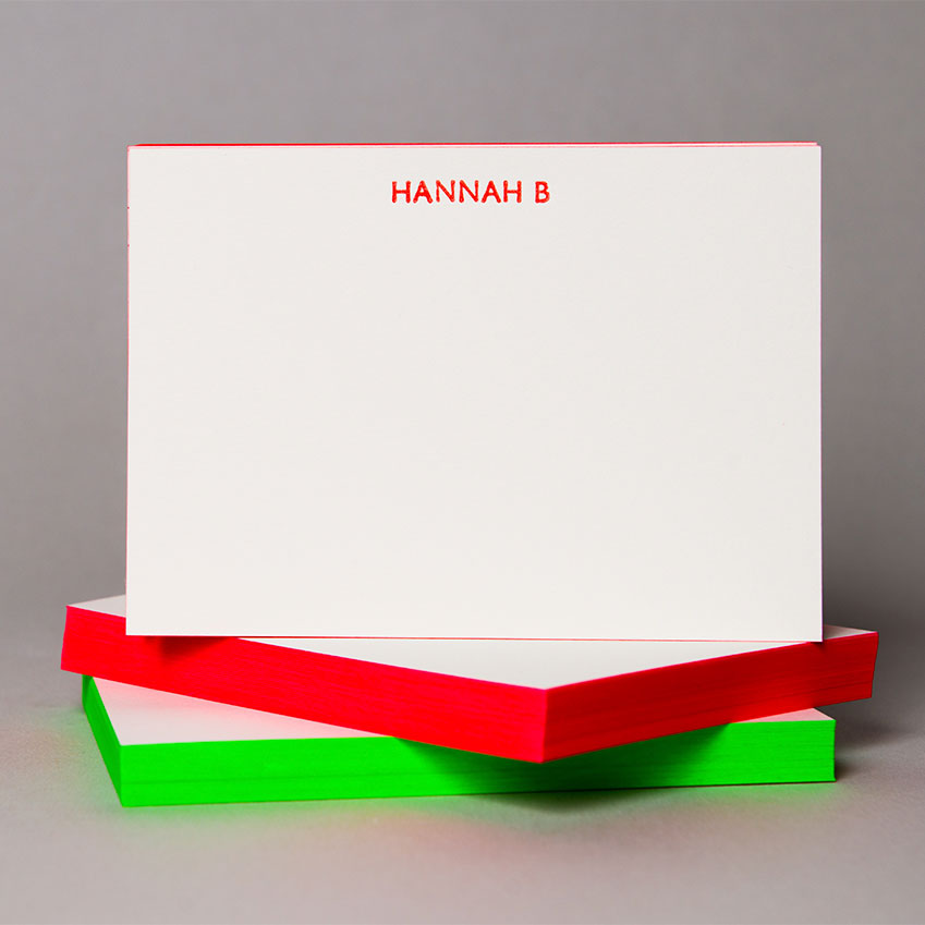Marby & Elm – Perfect for post-Christmas thank-you notes, these flouro-edged notecards can be headed with your name in a matching hue. £130 for a pack of 50 (marbyandelm.com)