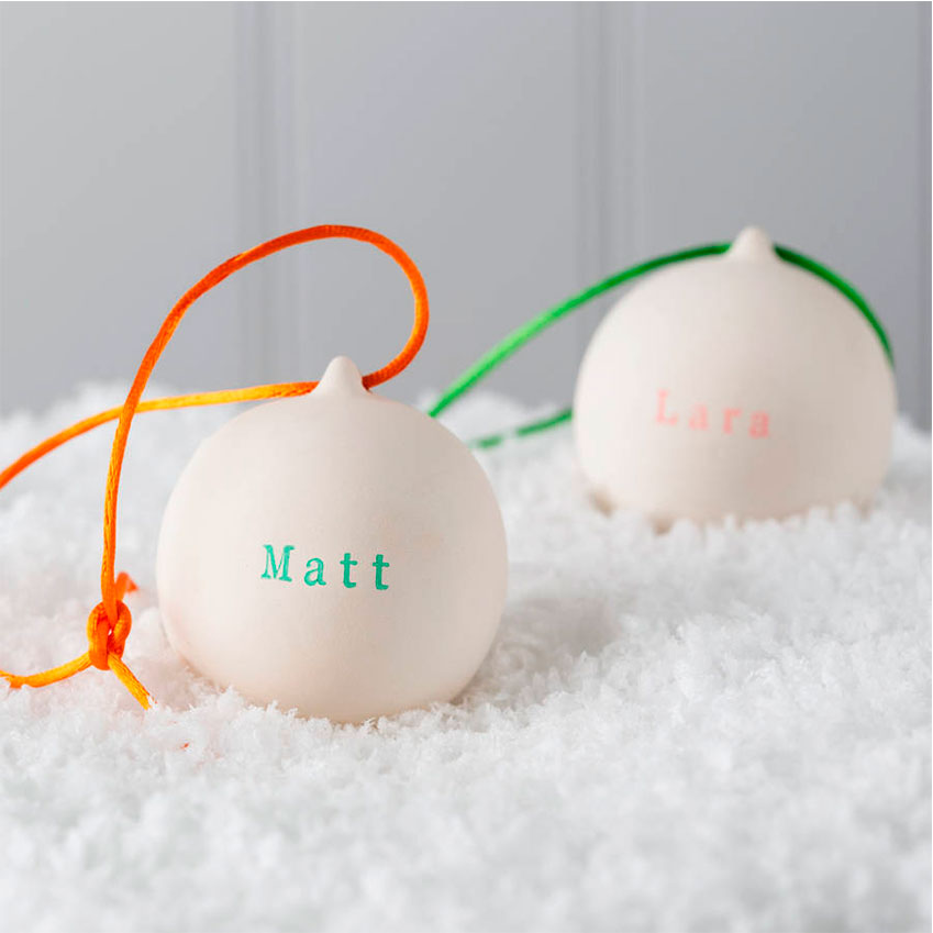 Twenty-Seven – These ceramic baubles are rubber-stamped with your chosen name or message (up to eight characters). The makers warn that the letters might be 'a little wonky', but that's just part of their handmade charm. £12 each (twenty-seven.co.uk)