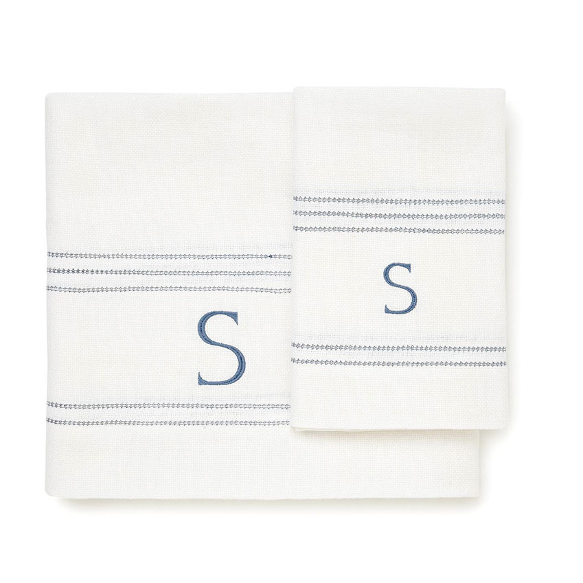 Volga Linen – This family-run British fabric firm sells towels, bathrobes, napkins and bedding, with a monogramming service that adds a lovingly stitched flourish. From £24 for a hand towel, plus £6 per initial or £15 per word (volgalinen.co.uk)