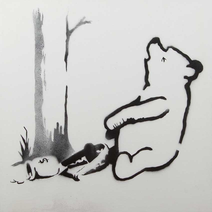 'Winnie the Pooh' (2013) by Banksy, exhibited by Haynes Fine Art of Broadway