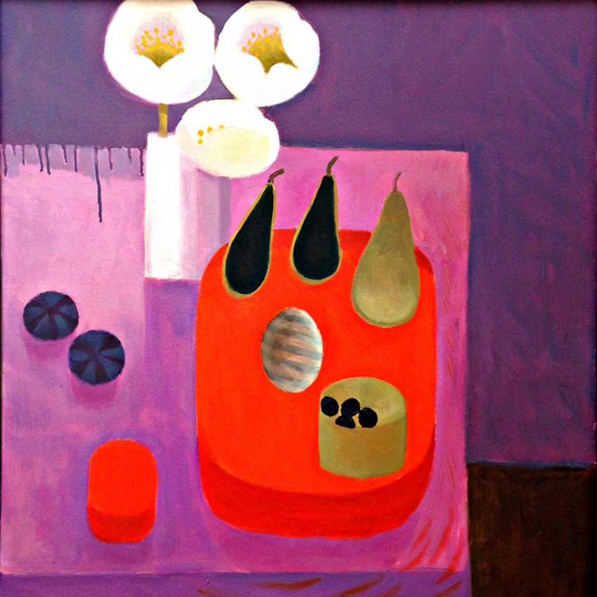 'Two Black Pears' (2008) by Mary Fedden, exhibited by Beaux Arts London