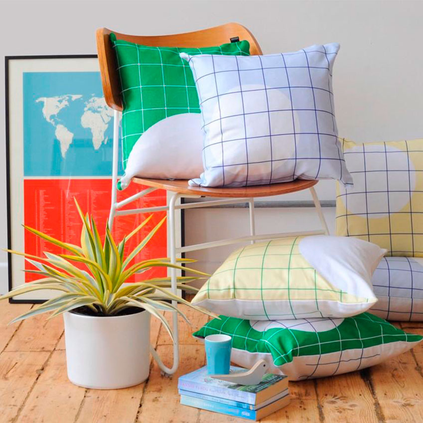 'NYC' and 'DUB' cushions by Patternbooth (£62 each, patternbooth.com)