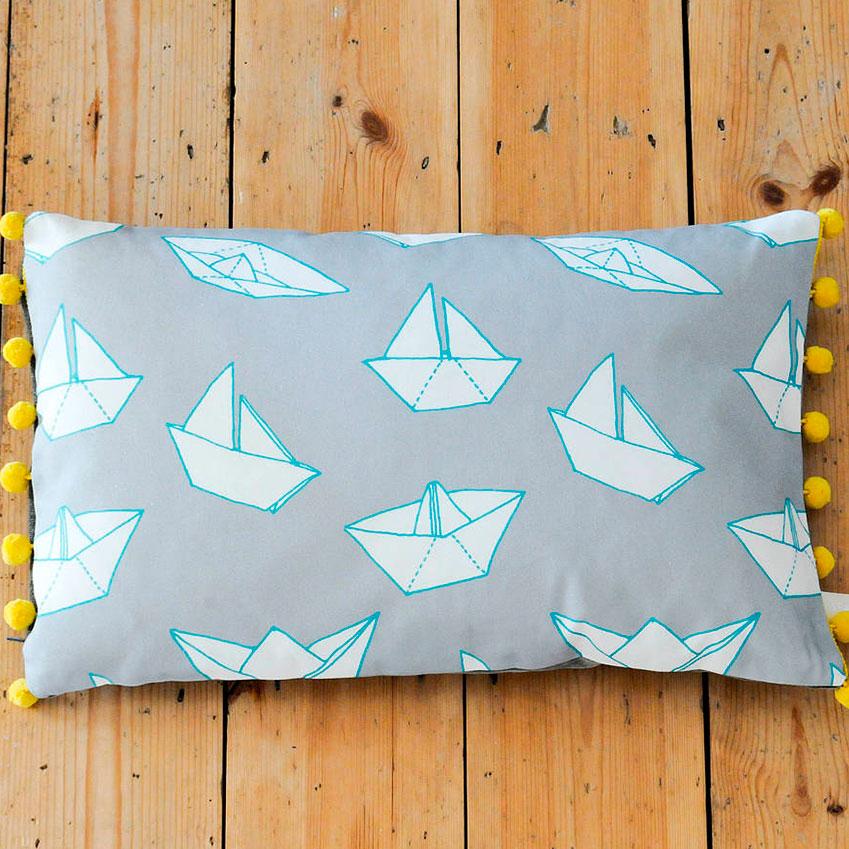 'Boats' rectangular cushion by Sparrow + Wolf (£38.50, sparrowandwolf.bigcartel.com)