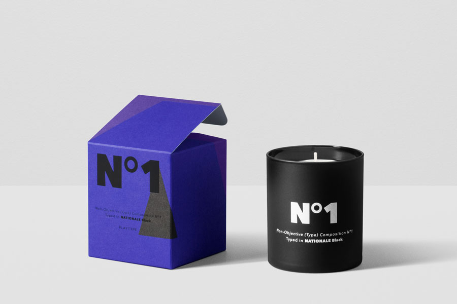 These typeface-inspired scented candles by Copenhagen design agency Playtype smell as good as they look. 'No.1' blends white musk, amber and sandalwood, while 'No.2' mixes exotic filao wood, bergamot, violet leaf and white musk.