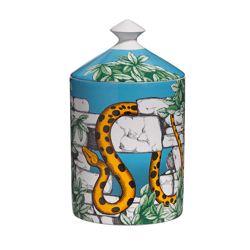 Barnaba Fornasetti's new candle, 'Il Serpente del Giardino Segreto', makes use of existing Fornasetti design motifs to produce a look that is part Garden of Eden, part Rudyard Kipling novel. The scent, the fourth released by Fornasetti Profumi, is equally mystical, combining the aromas of an Italian garden – cypress, ivy, bergamot, thyme and cedar wood. Prices start at £115 for a scented candle.