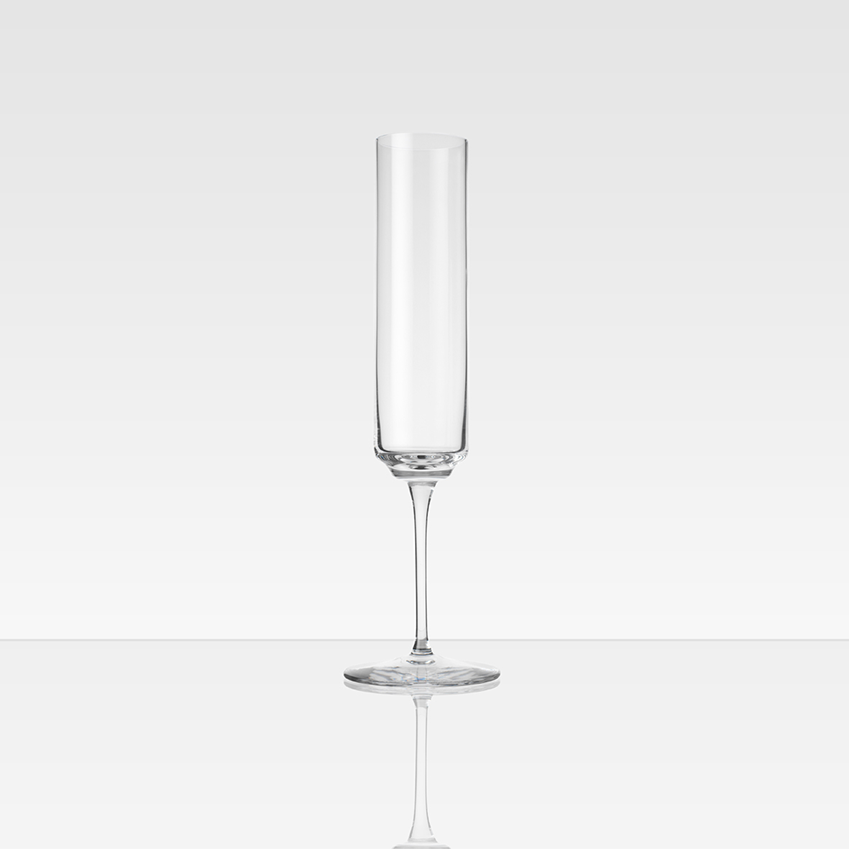 Champagne flute by Ilse Crawford, £129 for a pair, Michael Anastassiades (michaelanastassiades.com)