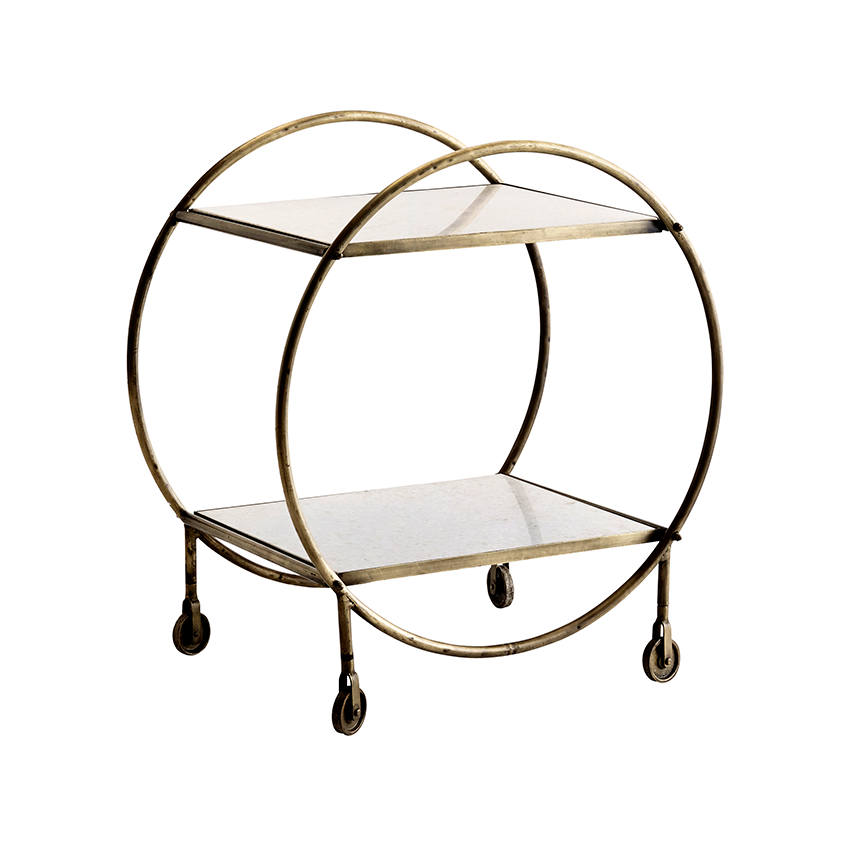 Brass-and-marble drinks trolley, £225, Rockett St George (rockettstgeorge.co.uk)