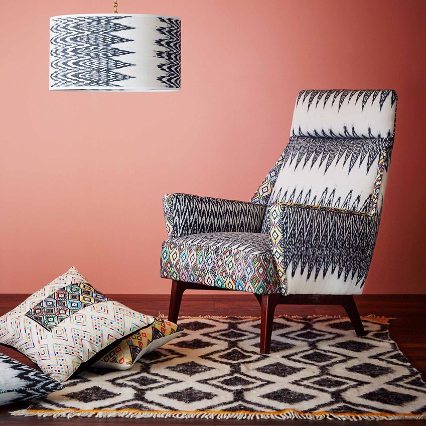 Armchair in Ixcan Brocade & Caterina Ikat Black, A Rum Fellow