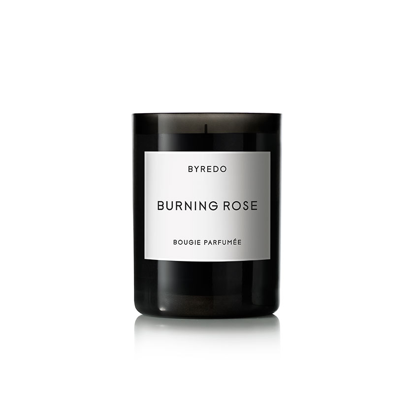 This 'Burning Rose' candle by Byredo combines rose petals with woody notes. £50 (byredo.com).