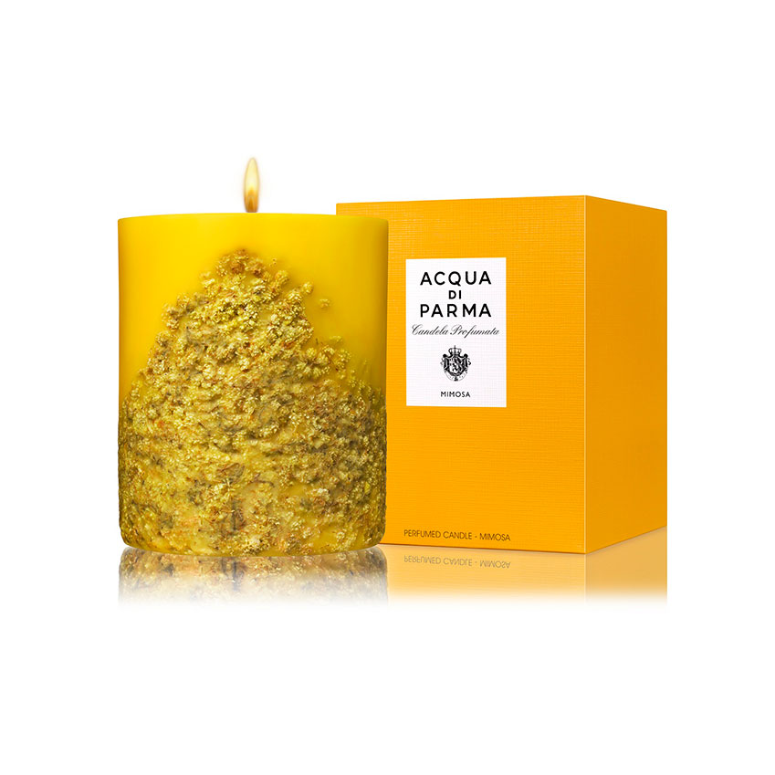 Studded with dried petals, Acqua di Parma's 'Mimosa' candle has a lovely floral scent. £80 (acquadiparma.com).