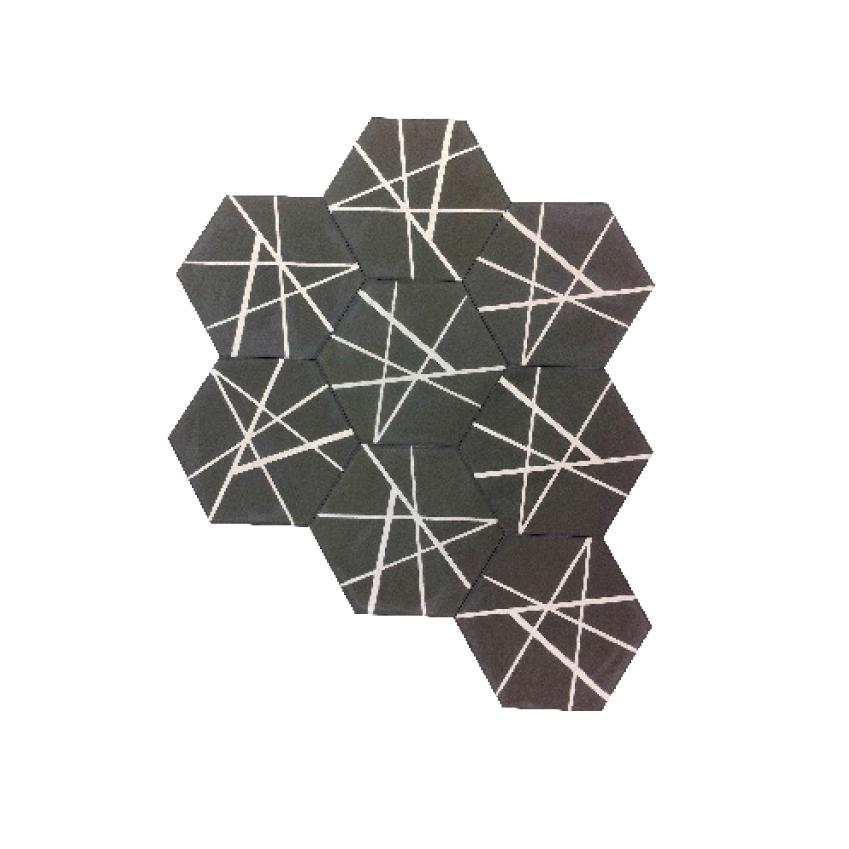 Image 6 of 8: 'Hex Pick Up Sticks' tiles by Popham Tiles, £120 per square metre, Ann Sacks (annsacks.com)